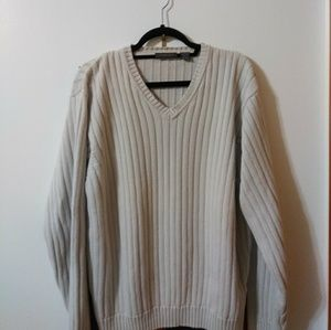 A V-neck knitted sweater